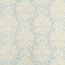 Бумажные обои с крыпным цветочным рисунком на голубом фоне TATTON (Duck Egg/Pale Linen)