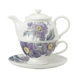 Набор чашка с чайником в крупные цветы пиона PEONY GARDEN TEA FOR ONE (Amethyst)