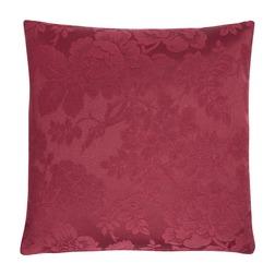 Квадратная декоративная подушка бордового цвета с объемным узором FLORAL DAMASK 43*43 (Cranberry)