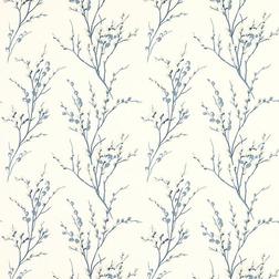 Обои с рисунком весенней вербы голубого цвета PUSSY WILLOW (Off White/Seaspray)