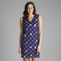 Платье насыщенного синего цвета без рукава с принтом в косую клетку MD 180