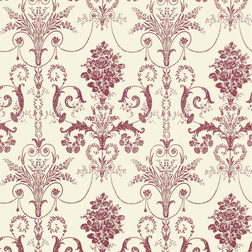 Бумажные обои с непревзойденным  рисунком клюквенного цвета JOSETTE (Cranberry/Off White)