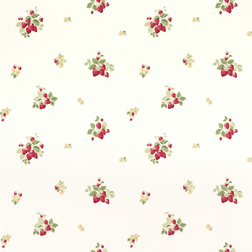 Бумажные обои с красивым рисунком клубничных гроздьев STRAWBERRIES (Cranberry)