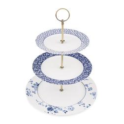 Подставка для фруктов и десертов с фарфоровыми тарелками CHINA ROSE 3 TIER 26*21*18 (Blue)