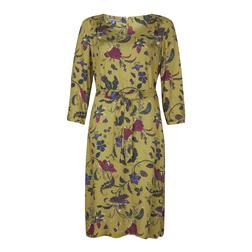Элегантное платье песочного цвета с принтом цветов MD 088