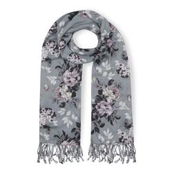 Серый шарф с цветочным принтом SH 882