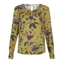 Стильная блуза цвета охра с принтом цветов BL 387