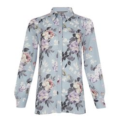 Голубая  блуза с цветочным принтом BL 415