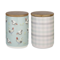 Набор кухонных банок с крышками STORAGE JARS SET OF 2 CHICKEN & GINGHAM 16,5*9,5*15,5 (Multi)