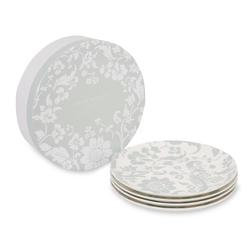 Набор тарелок с цветочным рисунком зелено-голубого цвета LYLA SET OF 4 CAKE PLATES Ø20 (Grey)