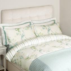 Двойной набор постели с рисунком птиц и цветов HAREWOOD DB 200*200, 50*75 set of-2 (Duck Egg)