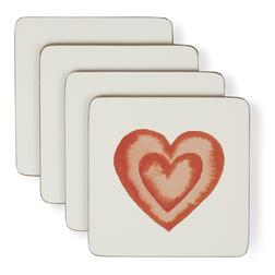 Набор подставок под чашку с рисунком сердечка HEARTS SET OF 4 COASTERS 10*10 (Multi)