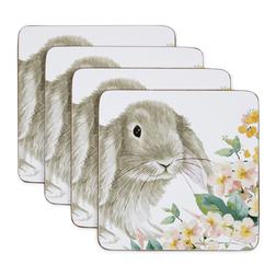 Набор подставок под чашку с рисунком кролика RABBIT SET OF 4 COASTERS 10*10 (Multi)