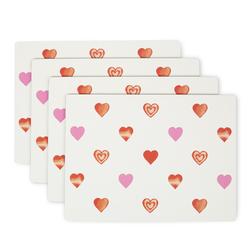 Набор подставок под посуду с рисунком сердечек HEARTS SET OF 4 PLACEMATES 21*29 (Multi)