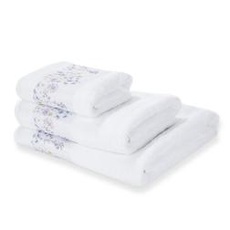 Большое банное белое полотенце с рисунком полевых цветов WILD MEADOW 100*150 (White)