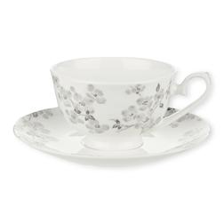Чайная чашка с блюдцем в цветы светло-серого цвета IONA CUP AND SAUCER 15,7*7 (Grey)