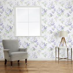 Английские обои в цветы на светлом фоне VIOLETTA (Silver White)