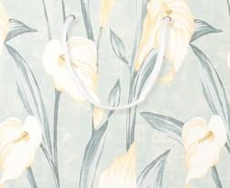 Прямоугольный подарочный пакет в цветы (LILIUM Grey/Green)