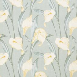 Ткань для штор с крупным цветочным рисунком LILIUM (Grey/Green)