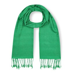 Шарф зеленого цвета с бахромой SH 907