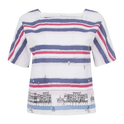 Блуза с коротким рукавом в морской тематике BL 493