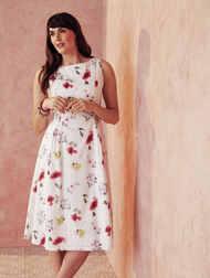 Платье молочного цвета с цветочным принтом MD 133