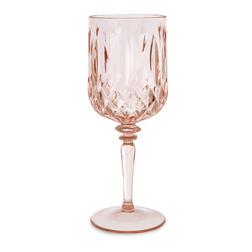 Граненый бокал для вина из акрила розового цвета FACETED WINE GLASS 8*8*20,7 (Blush Pink)