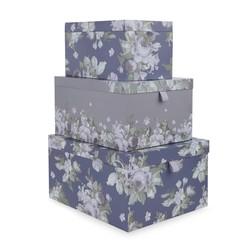 Набор коробок фиолетового цвета с рисунком цветов FRENCH ROMANTIC  SET OF 3 STORAGE BOXES 34,5*28*18