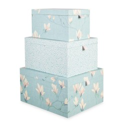 Набор коробок с рисунком цветов магнолии MAGNOLIA GROVE SET OF 3 STORAGE BOXES 34,5*28*18,2 (Duck Eg