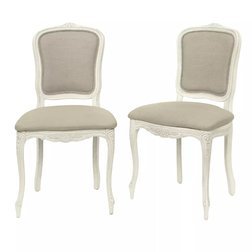 Набор обеденных стульев цвета слоновой кости PROVENCALE PAIR UPH CHAIRS 95*52*56 (Ivory/Haiden Beige