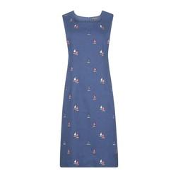 Синее платье из 100% льна с принтом корабликов