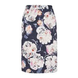 Синяя юбка с ярким цветочным принтом MS 843