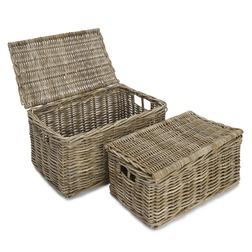Набор плетеных корзин с крышками KUBU SET OF 2 TRUNKS 32*38*56; 25*31*49 (Natural)