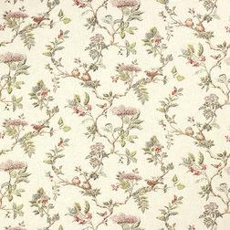 Ткань для штор с рисунком растительности и птичек ELDERWOOD (Natural)