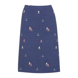 А-образная юбка синего цвета с оригинальной вышивкой  MS 846