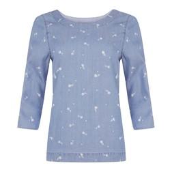 Голубая блуза с принтом белых цветов BL 463
