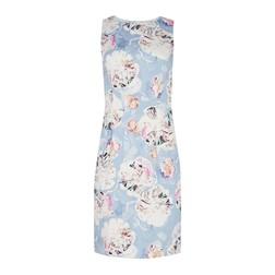 Приталенное платье голубого цвета с ярким цветочным принтом MD 161