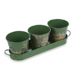 Набор горшочков для цветов на металлической подставке GARDENERS POTS SET OF 3 10*11*11, 3,5*8,5*32 (