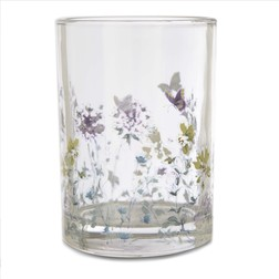 Стеклянный подсвечник с рисунком бабочек и цветов MEADOW FLOWER TEALIGHT HOLDER 7*10 (Multi)