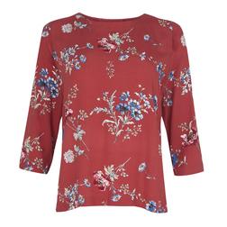 Блуза морковного цвета с цветочным принтом BL 427