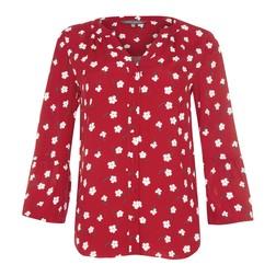 Блуза красного цвета с цветочным принтом BL 445