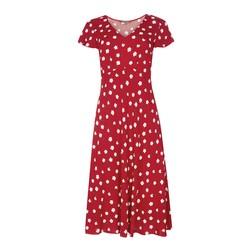 Красное платье с принтом белых цветов MD 106