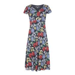 Синее платье с принтом ярких цветов MD 107