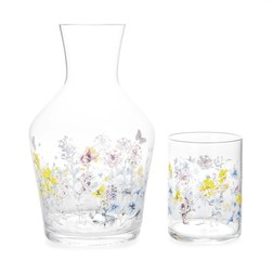 Графин и стакан с рисунком цветов MEADOW FLOWER CARAFE & TUMBLER 18*10,5, 8,5*6,3 (Clear)