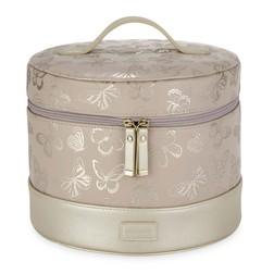Круглая косметичка розового цвета BUTTERFLY VANITY CASE 18*24 (Blush Pink)