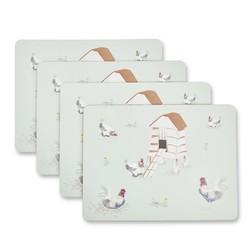 Набор подставок под посуду с рисунком домашних курочек CHICKENS SET OF 4  PLACEMATS 23*33 (Multi)