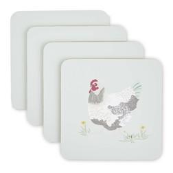 Набор подставок под чашку с рисунком домашних курочек CHICKENS SET OF 4 COASTERS 10,5*10,5 (Multi)
