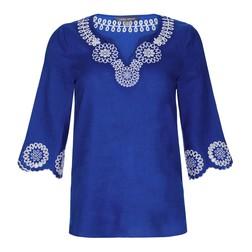Блуза синего цвета из 100% льна