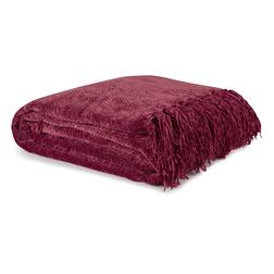 Мягкий плед из вискозы бордового цвета HAMILTON 130*170 (Cranberry)