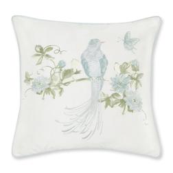 Декоративная подушка с вышивкой птицы и цветов HAREWOOD EMB 40*40 (Duck Egg)